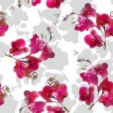 Modell för tropisk blomma för orkidé för vattenfärgefterföljd sömlös också vektor för coreldrawillustration royaltyfri illustrationer