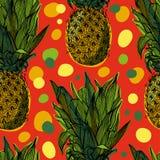 Modell för tropisk frukt för ananas söt sömlös Royaltyfria Bilder