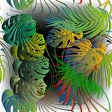 Modell för tropisk grön vektor för palmblad sömlös Dekorativ ljus lövrik bakgrund Mönstrad bakgrund för härlig repetition royaltyfri illustrationer