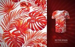 Modell för tropiska palmblad för vektor sömlös Blom- exotisk hawaiansk bakgrund Blommande beståndsdelar Hand dragen djungel vektor illustrationer