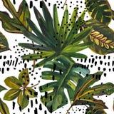 Modell för tropiskt blad för vattenfärg sömlös Teckning av ovanliga sidor på klotterbeståndsdelbakgrund vektor illustrationer
