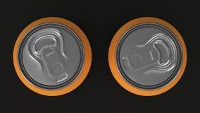 Modell för två liten orange aluminum sodavattencans på svart bakgrund Arkivfoton