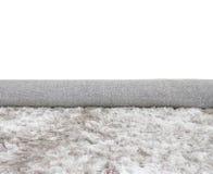 Modell för tyg för Closeupyttersidaabstrakt begrepp på mattan för rullgrå färgtyg på golvet av hustexturbakgrund på vit Arkivfoto