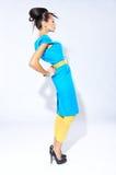 Modell för ung kvinna i klänningbenägenhet för blå gräsplan Royaltyfria Bilder
