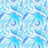 Modell för utdragen abstrakt vattenfärg för hand sömlös med blått och mörkt - blom- prydnad för blå fantasi, krabba linjer, klott stock illustrationer