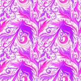 Modell för utdragen abstrakt vattenfärg för hand sömlös med den blom- prydnaden för rosa violett fantasi, krabba linjer, klotter, royaltyfri illustrationer