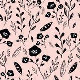 Modell för utdragna blommor för rosa och svart hand sömlös vektor illustrationer
