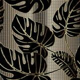 Modell för utsmyckad vektor för palmblad sömlös Dekorativt guld- texturerad bakgrund 3d för raster galler Randig dekorativ blom-  vektor illustrationer