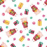Modell för vattenfärg för nytt år sömlös med gulliga svin, julgåvor och snöflingor royaltyfri illustrationer