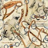 Modell för vattenfärg för selehäst rid- sömlös bakgrund stock illustrationer