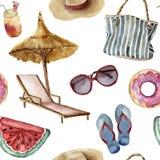 Modell för vattenfärgsommarstrand Hand målade objekt för sommarsemester: solglasögon strandparaply, strandstol, sugrör Arkivbilder