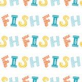 Modell för vektor för färgrik fisktecknad film sömlös stock illustrationer