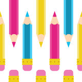 Modell för vektor för blyertspennaklotter sömlös Tecknad film guling, rosa färg, blått som är cyan Arkivfoton