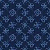 Modell för vektor för gullig blå maritim kompasstecknad film sömlös F?r kartografiutrustning f?r hand utdragen tegelplatta royaltyfri bild