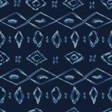 Modell för vektor för indigoblå bandfärgBatik sömlös Organisk blå Bandana vektor illustrationer