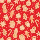 Modell för vektor för julpepparkakakakor sömlös Semestra den röda handen dragen bakgrund med sockerbeläggningskex royaltyfri illustrationer