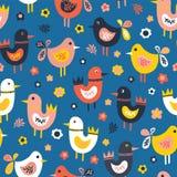 Modell för vektor för för klotterfåglar och blommor sömlös Röda gulliga fåglar för skandinavisk plan stil, blått, rosa, vitt För  royaltyfri illustrationer