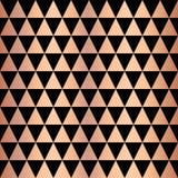 Modell för vektor för kopparfolietriangel geometrisk sömlös Rosa guld- skinande triangelformer på svart bakgrund Elegant för reng vektor illustrationer