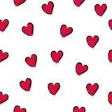 MODELL FÖR VEKTOR FÖR MODERIKTIG FÖRÄLSKELSEHANDATTRAKTION SÖMLÖS OLIK MÅLAD KONSTTEXTUR FÖR SYMBOL HJÄRTA Hjärta för två rosa fä vektor illustrationer
