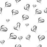 MODELL FÖR VEKTOR FÖR MODERIKTIG FÖRÄLSKELSEHANDATTRAKTION SÖMLÖS OLIK MÅLAD KONSTTEXTUR FÖR SYMBOL HJÄRTA Hjärta för två rosa fä stock illustrationer