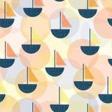 Modell för vektor för moderna Art Deco segelbåtar sömlös Blåa fartyg för stil för tappningskärmtryck, apelsin, korallguling layer royaltyfri illustrationer