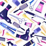 Modell för vektor för skönhetsalong sömlös Färgrika hårfrisörhjälpmedel och utrustning vektor illustrationer