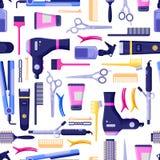 Modell för vektor för skönhetsalong sömlös Färgrika hårfrisörhjälpmedel och utrustning royaltyfri illustrationer