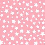 Modell för vit stjärna för vektor som sömlös isoleras på rosa bakgrund royaltyfri foto