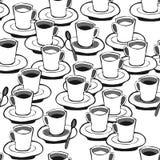 Modell för vitt kaffe för svart kaffe seamless Royaltyfri Foto