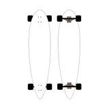 Modell für longboards Verspotten Sie oben für weiße longboards mit schwarzen Rädern Getrennt Lizenzfreies Stockfoto