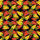 Modell f?r r?da och gula peppar f?r utdragen klocka f?r hand s?ml?s p? svart bakgrund stock illustrationer