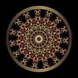 Modell f?r mandala f?r grek 3d f?r tappning blom- Den guld- runda eleganslinjen konst snör åt prydnaden Färgrik design för dekora stock illustrationer