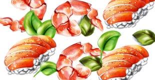 Modell f?r sushivektorvattenf?rg Gourmet- mallar f?r l?cker textur royaltyfri illustrationer