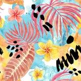 Modell f?r tropiska sidor f?r vattenf?rg s?ml?s Handen m?lade palmbladet, exotiska plumeriablommor och l?vverk p? bl? bakgrund stock illustrationer