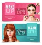 Modell Face Salon Banners stock illustrationer