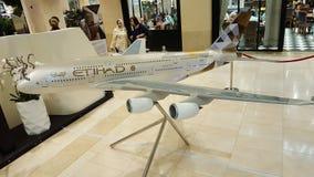 Modell Flugzeug-Livree Etihad A380 Lizenzfreie Stockfotografie