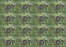 Modell - från ett foto - trähjul på gräset royaltyfri illustrationer