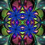 Modell från fractalblommor Darkblue, grön och purpurfärgad palett Arkivfoto