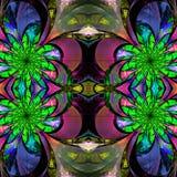 Modell från fractalblommor Gräsplan, blått och purpurfärgad palett f Royaltyfri Foto