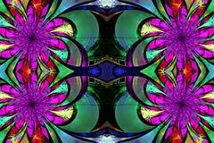 Modell från fractalblommor Lila-, gräsplan- och bruntpalett f Arkivfoto