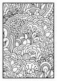 Modell för färgläggningbok Svartvit bakgrund med blom-, etniskt, hand drog beståndsdelar för design Royaltyfri Fotografi