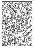 Modell för färgläggningbok Svartvit bakgrund med blom-, etniskt, hand drog beståndsdelar för design Royaltyfria Bilder