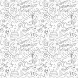 Modell för klotter för parti för lycklig födelsedag svartvit sömlös Arkivfoton