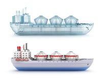 Modell för oljetankerskepp och tråd Royaltyfria Bilder