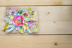 Modell för presentationer med pappers- blommor för vattenfärg Arkivbild