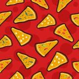 Modell för symboler för pizzahäftklammerlapp sömlös Fotografering för Bildbyråer