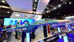 Modell Front- Bombers UAC SU-34 auf Anzeige in Singapur Airshow Stockfotografie