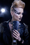 Modell Girl Portrait för modevippastil royaltyfri bild