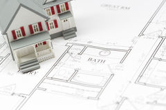 Modell House Resting på husplan Arkivbild
