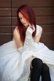 Modell i bröllopkappa Fotografering för Bildbyråer